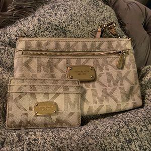 Michael Kors wristlet and matching card wallet